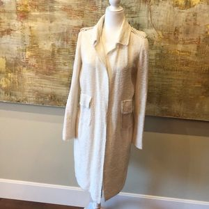Zara cream colored chambray duster with pockets .